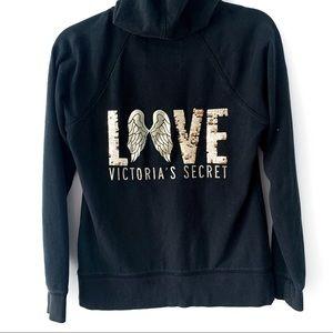 Victoria's Secret Tops - Victoria's Secret Black Angel Sequin Zip Hoodie